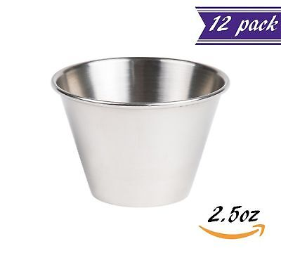(12 Pack) 2.5 oz Sauce Cups , Stainless Steel Condiment Cups / Portion Cups