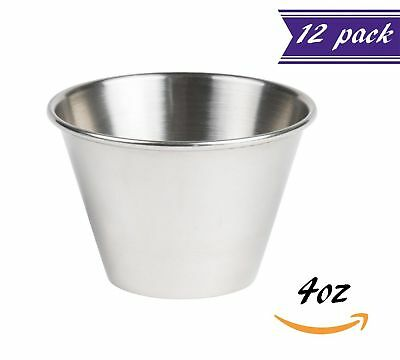(12 Pack) Tezzorio 4 oz Sauce Cups, Stainless Steel Condiment Cups/Portion Cups