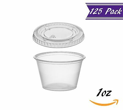 (125 Pack) 1-Ounce Plastic Portion Cups with Lids, Clear Condiment Cups