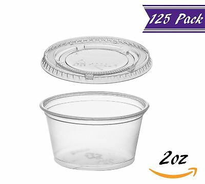 (125 Pack) 2-Ounce Plastic Portion Cups with Lids, Clear Condiment Cups
