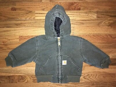 Sz 2T Toddler CARHARTT green quilted hooded full zip DUCK JACKET Y30MOS SEE PICS