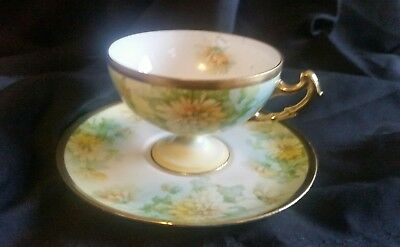 """RARE Antique Royal Rudolstadt Prussia Germany, """"B"""" Cup & Saucer"""