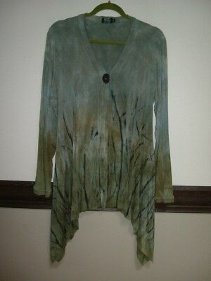 Quirky Art Of Cloth Abstract Button Asymmetrical Cardigan Blues,greens & Black