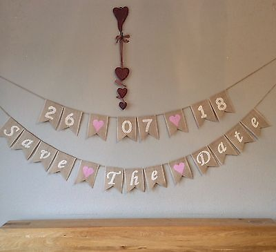 Wedding Save The Date Wedding Date Bunting Banner Hessian