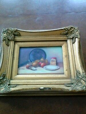 """Vintage Signed by """"T  Fitz"""" Painting OIL ON BOARD Still Life 12x10"""""""