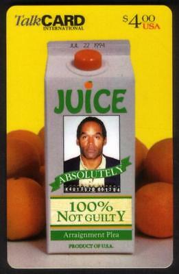$4. O.J. Simpson Mugshot On Juice Container '100% Not Guilty' Phone Card