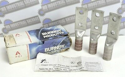 Burndy Products - Lot of 3 Brown Die Lugs 20 or 299 / 500 kcmil CU (NEW in BOX)