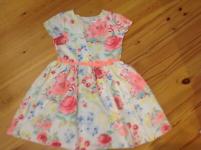 Excellent Condition! Carters Girls Size 6 White Floral Cotton Dress Pink Green