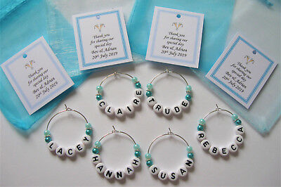 Aqua Blue / Turquoise - Personalised Wedding Favour / Name Charms / Place Settin