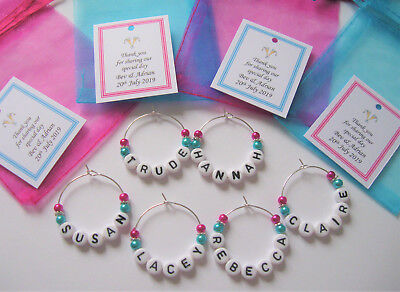 Hot Pink & Turquoise - Personalised Wedding Favour - Name Charm - Place Setting