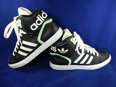 ADIDAS ORIGINALS EXTABALL Hi Top Sneakers, BLACK W WhiteGreen Women's Size 7