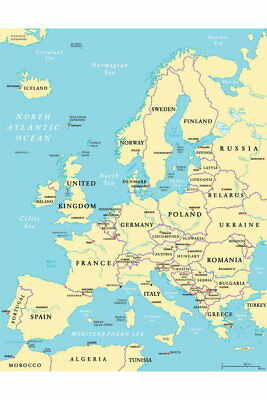101717 Political Map of Europe Art Decor WALL PRINT POSTER AU