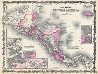 110476 GEOGRAPHY MAP ILLUSTRATED ANTIQUE JOHNSON Decor WALL PRINT POSTER AU