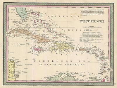 110792 GEOGRAPHY MAP ILLUSTRATED ANTIQUE WEST INDIES Decor WALL PRINT POSTER AU