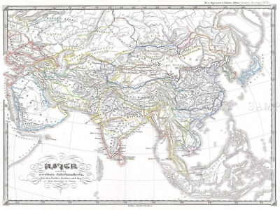 111258 GEOGRAPHY MAP ILLUSTRATED SPRUNER ASIA CENTURY Decor WALL PRINT POSTER AU