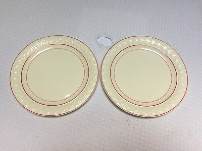 """Vintage Taylor Smith & Taylor Red Striped Art Deco 9"""" Luncheon Plates (2)"""