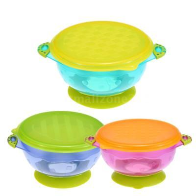 3x Color Suction Bowl Set Baby Feeding Toddler Stay Put Lids Spill Proof P1Q5