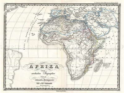 113716 1855 SPRUNER MAP AFRICA FROM 8TH CENTURY Decor WALL PRINT POSTER UK