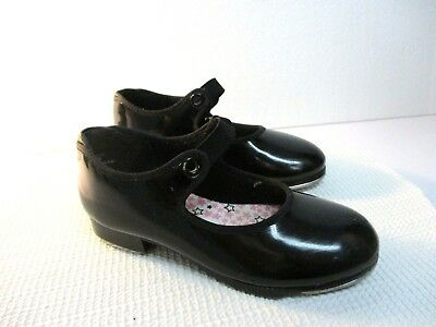 Capezio Size 10N Girls Black Patent Leather Slip On Tap Shoes