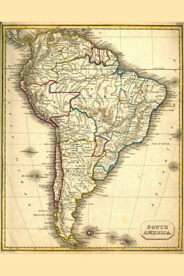 103751 South America Antique Style Map Decor WALL PRINT POSTER AU