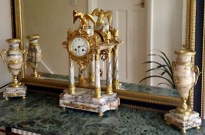 Antique French 8 Day Marble Four Glass Crystal Regulator Garniture Clock Set