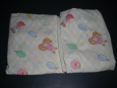 """2 Vintage 1983 Cabbage Patch Baby Cradle/bassinet Fitted Sheets 19"""" X 33"""""""