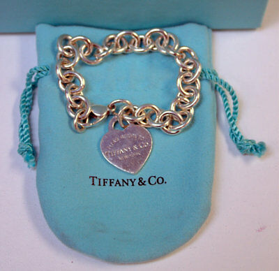 "Tiffany & Co Sterling Silver Heart Tag "" Please Return To "" Link Bracelet 7"""