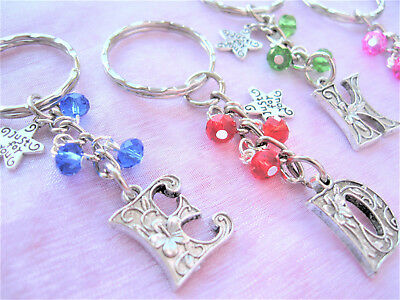 Letter Charm Keyring - Various Colours - Wedding/Hen Party/Birthday/Christmas