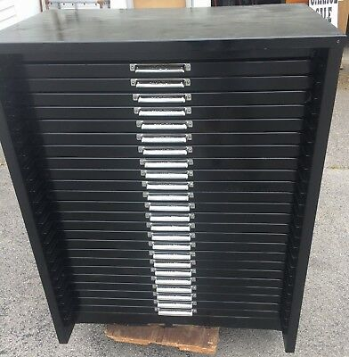 Letterpress metal cabinet with 24 drawers