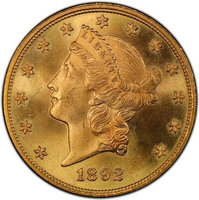 1892 $20 Liberty Head Double Eagle PCGS MS65+ (CAC)