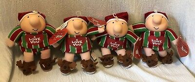 Lot of 4 Ziggy & Friends Dolls 1991 Christmas I Love You Reindeer Slippers TAGS