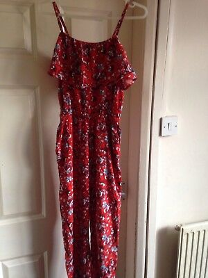 river island age 12-13 red patterned playsuit