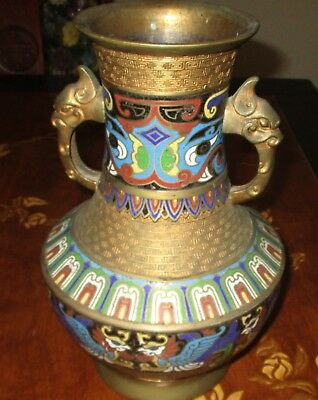Japanese Brass etched Cloisonne vase Dragon handle Large Signed Ornate Urn 12""