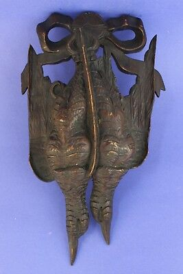 Antique Black Forest Carved Wood Pheasant Bird Wall Art Game Plaque