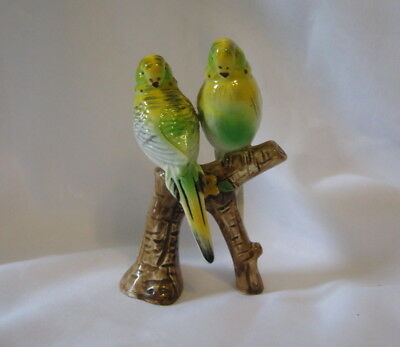 "Vintage Yellow & Green Parakeet Pair On A Stump 5.25"" Ceramic Figurine Unbranded"