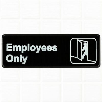 """Employees Only Sign - Black and White, 9 x 3"""" Employees Only SIgn for Door"""