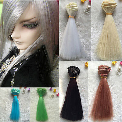 DIY BJD SD Straight Doll Wigs Synthetic Hair For Dolls 15cm Beige Gold 6 Colors