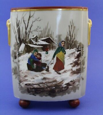 Antique Russian Folk Art Hand Painted Winter Snow Porcelain Footed Planter Vase