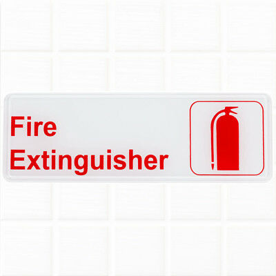 """Fire Extinguisher Sign - White and Red, 9 x 3"""" Fire Exit / Fire Safety Signs"""