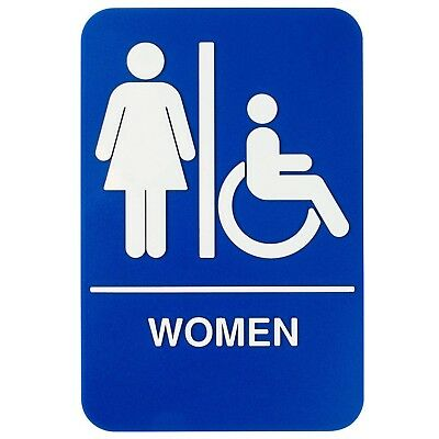 """Women's Restroom Sign - Blue and White, 9 x 6"""" Womens Handicap Accessible"""