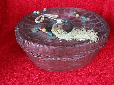 Vintage Antique Chinese Sewing Basket Peking Green Glass Handle Beads Five Coins