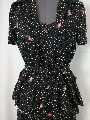 Vintage 70s Diane Von Furstenberg Italy ROSE print cotton dress 2 piece set