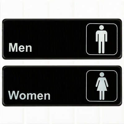 (Set of 2) Restroom Signs, Men and Women Restroom Signs - Black and White