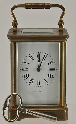 ANTIQUE TIFFANY CARRIAGE CLOCK with KEY WORKING FRANCE FRENCH EARLY 20TH C