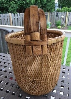 Chinese Woven Willow Rice Basket W Triple Intersecting Elm Wood Handle