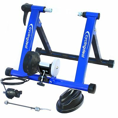 Indoor Bike Trainer Portable Exercise Bicycle Magnetic Stand With Shifter Blue