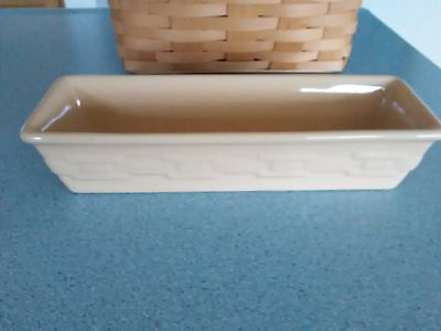 Longaberger Pottery Cracker Dish in Woven Traditions Butternut yellow NEW in box