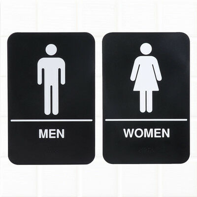 Set of 2 ADA Restroom Signs with Braille, Men's and Women's ADA Compliant Signs
