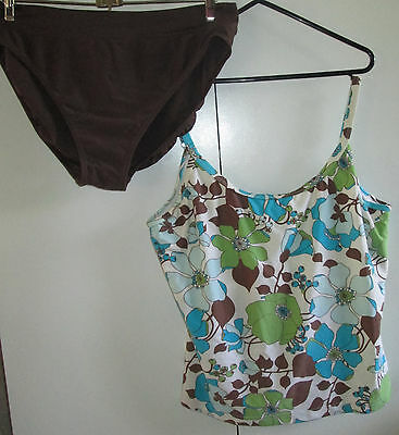 Vintage Ladies Zozou Size 18 Two Piece Swim Set Wear Underwire Insert Modesty