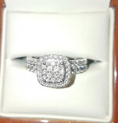 Bridal RIng Set 18k White Gold 1.5ct diamonds